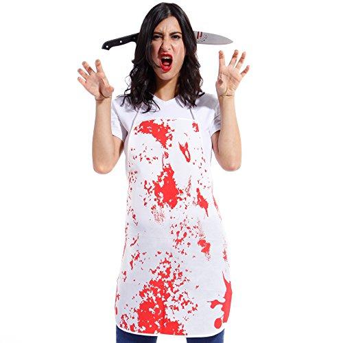 Delantal Blanco con Manchado de Sangre para Halloween Talla Única ...