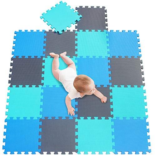 meiqicool Alfombras Puzzle para Bebé Alfombrilla Niño Suelo Goma EVA,Alfombra Puzle 1.62㎡ Niños Goma Espuma Estera Juego Puzzle Azul Turquesa y Gris 070812
