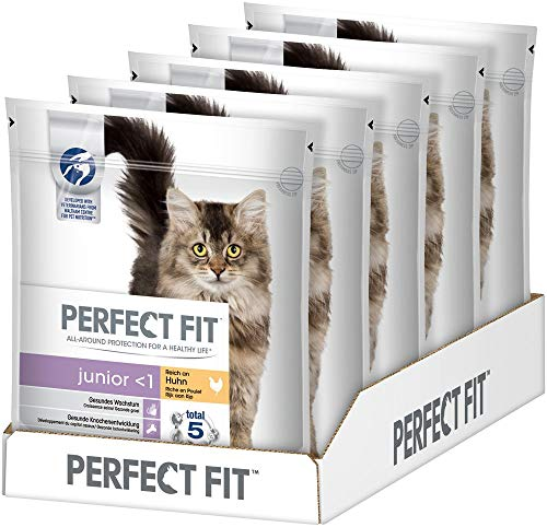 Perfect Fit Katzenfutter Trockenfutter Junior <1 Kitten/ Kätzchen Reich an Huhn, 5 Beutel (5 x 750g)
