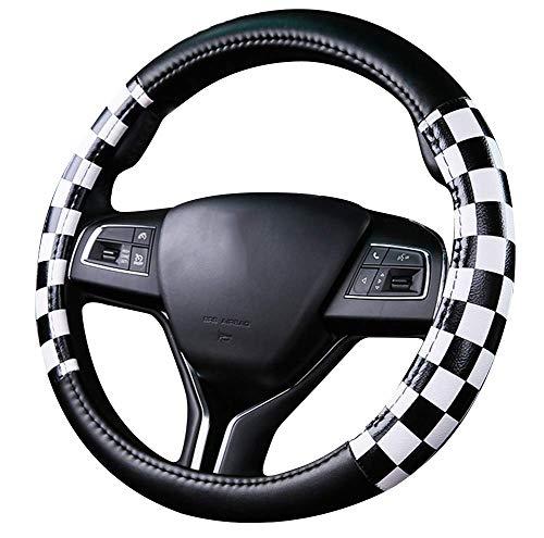 Rejilla de Cubierta del volante del automóvil de cuero de microfibra estilo unisex estilo universal 38 cm blanco