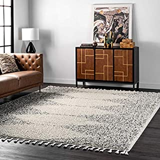 "nuLOOM Bria Moroccan Large Shag Rug, 9' 2"" x 12', Off White (B07D9WQ2HL) 