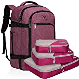Hynes Eagle Travel Backpack 40L Flight Approved Carry on Backpack, Red Violet with Red Violet 3PCS Packing Cubes 2018