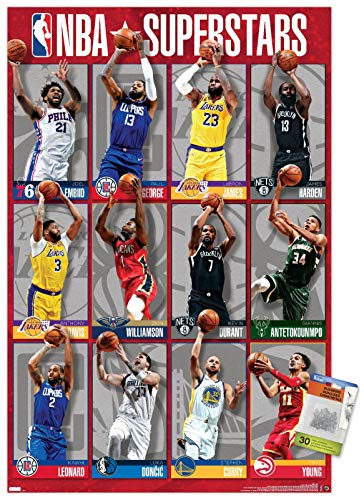 NBA League - Superstars 2020 Wall Poster with Push Pins