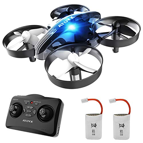 ATOYX Mini Drone for Kids and Beginners,Portable Remote Control Quadcopter Drone Toy, Best Drone for Boys and Girls with Altitude Hold, 3D Flips, Headless Mode,LED Light&Extra Batteries AT-66(Black)