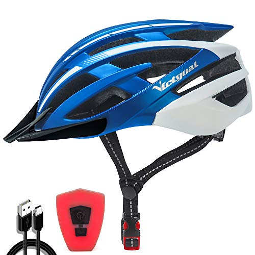Victgoal Bike Helmet with Safety USB Rechargeable LED Light Adult Bicycle Helmet Detachable Sun Visor Cycling Mountain & Road Cycle Helmets for Men Women (Blue White)