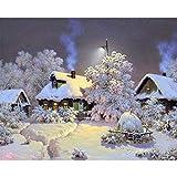 SHHSGZ Casa de Nieve 300 Piezas Rompecabezas de Madera Juegos para Adultos niños Juguete Puzzles para Arte Decoración del Hogar Regalo