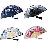 Ventagli Pieghevoli,4 Pezzi Ventagli Pieghevoli Cinesi, Ventagli retrò, Ventagli Decorativi Giapponesi, per la Decorazione della Parete,Accessori per La Danza e Anche per la Dissipazione del Calore