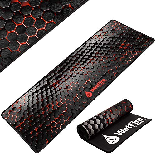 Extended Gaming Mouse Mat/Pad - XL Large, Wide (Long), Stitched Edges | 37.4W x 13L, 5mm Thickness (Black_red)
