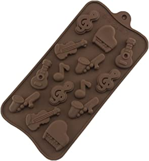 BellyLady 14 Pcs/Set Molds Of Silicone To Make Cakes Mousse Jelly Candy Chocolate With Musical Instrument Shape Chocolate ...