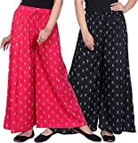 LCUPR Black and Pink Anchor Print Women Free Size Rayon Printed Palazzo pack of 2 (Suitable for Waist Size 28 to 40 Inches)