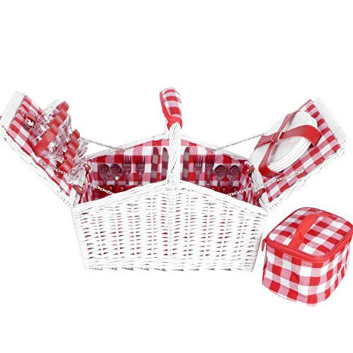 Cesta de pícnic de ratán con tapa y vajilla para regalo, mantel individual, maleta para jardín