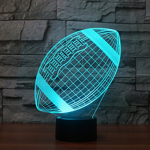 3D american football Illusions Lampen, Tolle 7 Farbwechsel Acryl berühren Tabelle Schreibtisch-Nachtlicht mit USB-Kabel für Kinder Schlafzimmer Geburtstagsgeschenke Geschenk