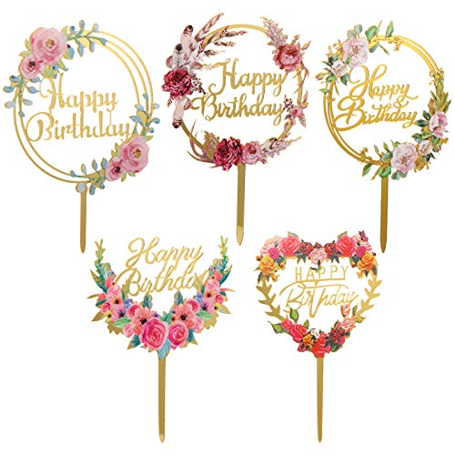 Amosfun 5pcs Happy Birthday Cake Topper Flower Garland Wreath Cupcake Insert Fruit Dessert Picks for Holiday Wedding Baby Shower Party Supplies