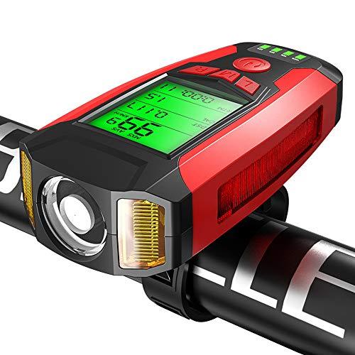 Guijiyi Luci Bicicletta LED,Ricaricabili USB 4 in1 Impermeabile Luce per Bicicletta con 130 db Clacson Bici & Computer da bicicletta & Allarme Antifurto,5 llluminazione e Suoni Modalità Torcia (Rosso)