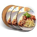 Juego de 4 posavasos redondos con diseño de espagueti italiano boloñesa italiana y protección de mesa para cualquier tipo de mesa #45417