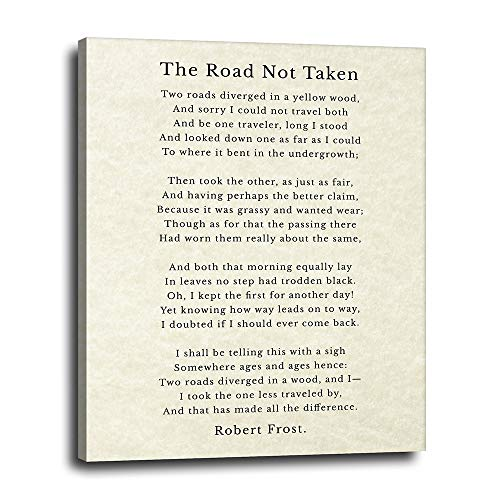 Robert Frost Poem Canvas Wall Decor 16x20 - The Road Not Taken Quote Inspirational Wall Art - Motivational Typography Artwork for Home, Office - Chic Gift for Student, Entrepreneur - Ready to Hang