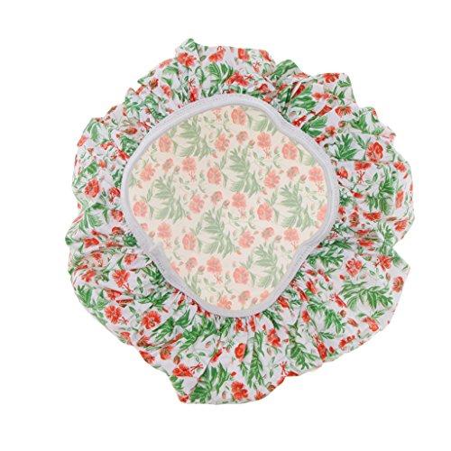 Homyl Chapeau de Douche Imperméable Réutilisable Imprimé Fleur Bande Élastique Bonnet de Bain de Couche Double - Cyan