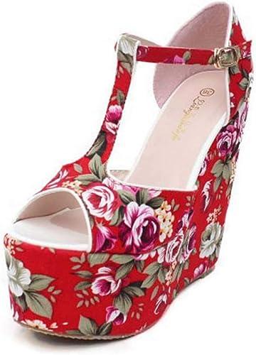 GHFJDO Chaussures à Bout Ouvert pour Femmes, Femmes, Sandales à la Mode, Talons d'été à T-Strap, Chaussures Romaines à Bride Cheville Rouges,rouge,38EU