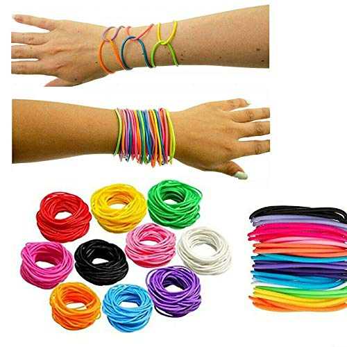 ABAV 12x Neon Gummi Armbänder Freundschaft Armreifen Shag Bands Schmuck Mode (Neon Orange Gummiarmbänder AA87007NO)