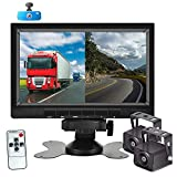 AHD 1080P Backup Camera System with 7'' DVR Dual Split Screen Monitor, Hikity IP69 Waterproof Rear View Camera Night Vision Reversing Camera for Truck Pick Up RV Camper Bus 12V-36V