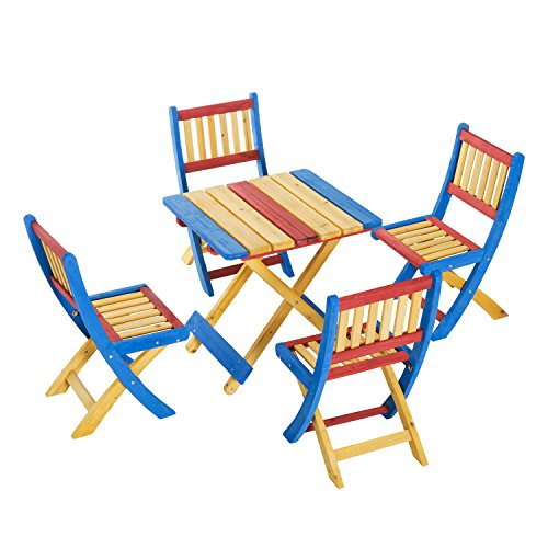 Outsunny Set Tavolo da Giardino con 4 Sedie Legno di Abete Colorato