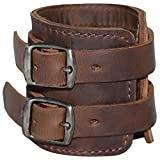 Hide & Drink, Leather Stylish Wrist Wallet Cuff / Hidden Pocket / Key / Safe / Wallet for Travelers / Bikers / Wristband With Secret Pouch, Handmade :: Bourbon Brown