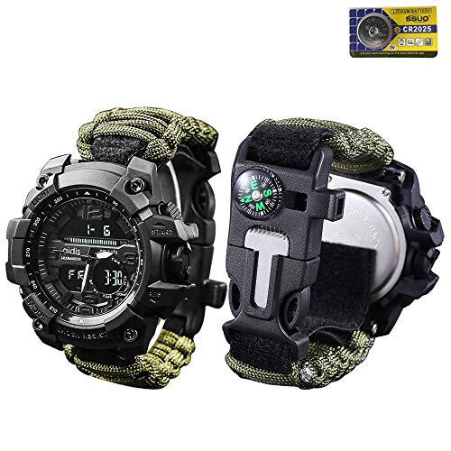 vikano Survival Bracelet Watch, Men & Women Emergency Survival Watch with Paracord/Whistle/Fire Starter/Scraper/Compass and Alarm, 6 in 1 Multifunctional Outdoor Gear (Green)