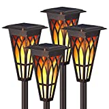 Solar Torch Lights, Solar Flickering Flame Torch Lights Outdoor 4 Pack 2 Modes for Halloween&Christmas, Matte Lampshade Auto On/Off Pathway Lights Solar Powered IP65 Waterproof Path/Beach/Yard/Garden