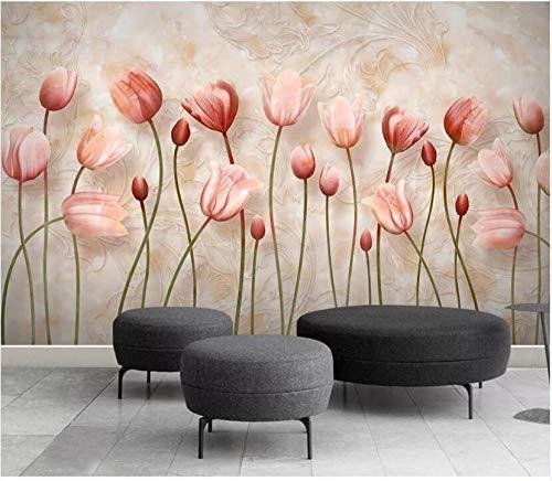Papel Pintado Pared Dormitorio Papel Pintado Autoadhesivo Flores 3D Sofá De Tv Con Relieve De Mármol De Tulipán Papel De Pared Mural Pared Cuadros Decoracion Salon Modernos