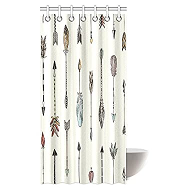 InterestPrint Arrow Decor Shower Curtain, Arrows Rustic Pattern Vintage Decorative Artwork in Drawing Effect Fabric Bathroom Shower Curtain with Hooks, 36 X 72 Inches