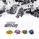 DIWULI, Happy Birthday Konfetti schwarz Silber, Geburtstags Tisch-Konfetti, Tisch-Deko, Glitter, Geburtstags-Deko Streudeko für Geburtstagsfeier, Motto-Party, Dekoration, Geschenk-Deko, DIY, basteln