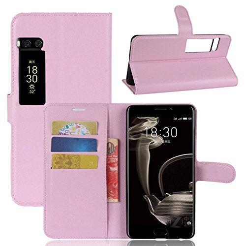 Tasche für MeiZu Pro 7 Plus Hülle, Ycloud PU Kunstleder Ledertasche Flip Cover Wallet Case Handyhülle mit Stand Function Credit Card Slots Bookstyle Purse Design rosa