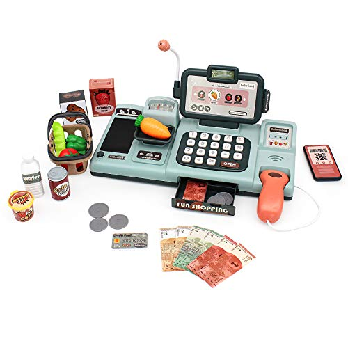 Cash Register Toy for Kids Shopping Pretend Play Calculator Set with 25pcs Accessories Includes Realistic Scanner & Sound & Microphone & Pretend Cred