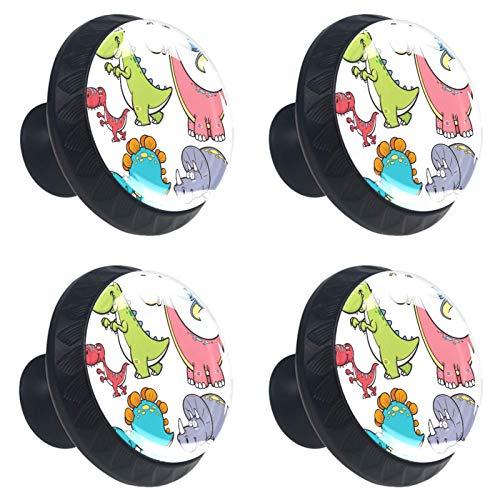 4 pomos para armarios de cocina de 3,8 cm con tornillos para cocina, aparador, armario, baño, armario, dinosaurio animal