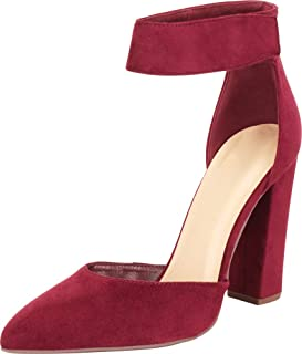 Cambridge Select Women's Pointed Toe D'Orsay Ankle Strap Chunky Block High Heel Pump