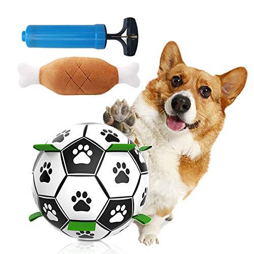 JINGYOUDAMAI Hund Fußball,Hundefußball Intelligenzspielzeug,Hundespielzeug Ball, Spielzeug Hund Ball,Naturkautschuk Hundespielball,Hund Interaktiver Schwimmender Ball