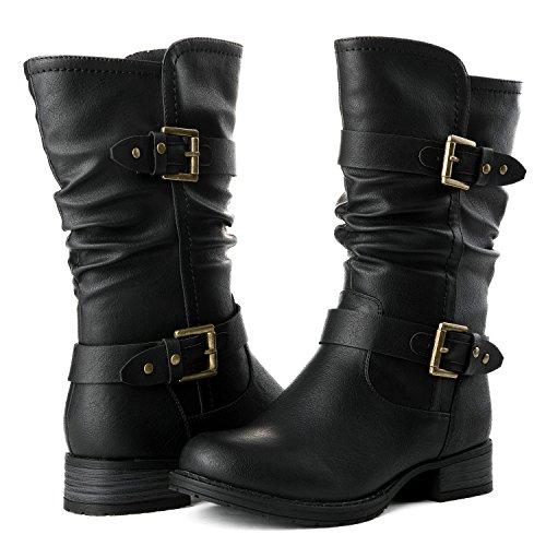 GLOBALWIN Women's 17YY10 Black Mid Calf Fashion Boots 10M