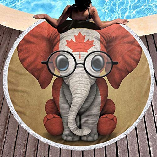 OneDay-Shop Bandera Canadiense de Canadá Maple Leaf Elephant Microfiber Pool Beach Throw Quick Dry Dry Thin Yoga Picnic Carpet Mat