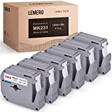 LEMERO Compatible with Brother P Touch M Tape M-K231 M231 MK231 M-K231s 12mm .47 White Label Tape - for Brother P Touch PT-65 PT-70 PT-80 PT-90 PT-45M 26.2 Feet Black on White (6 Pack)