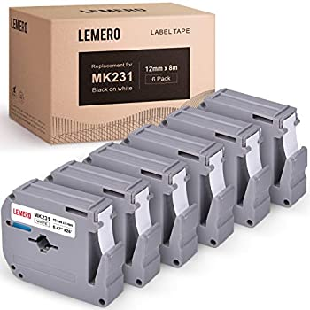 LEMERO Compatible with Brother M Tape M-K231 M231 MK231 M-K231s 12mm x 8 Meter White Label Tape - for Brother PT-65 PT-70 PT-80 PT-90 PT-45M 26.2 Feet Black on White  6 Pack