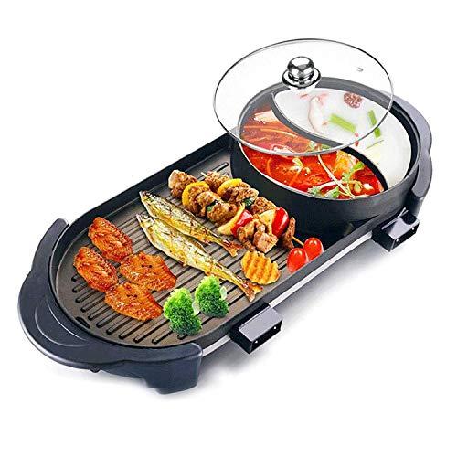 Elektrischer Grill mit Heitopf 2 in 1 Indoor Koreanischer BBQ-Grill und Shabu-SHABU-Topf mit Trennwand 2200w Getrennter Zwei-Temperatur-Kontrolle, Kapazitt für 2-8 Personen Familienessen