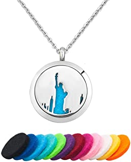 LoEnMe Jewelry Aromatherapy Essential Oil Diffuser Necklace Dog Paw Crown Footprint Palm Statue of Liberty for Mother's Day