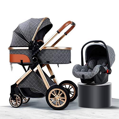 HHGO 3 En 1 Cochecito De Shock Absorción De Choques De Alto Paisaje, Pliegue De Lujo Carruaje De Bebé Cinturón De Seguridad De Cinco Puntos, Adecuado para Bebés De 0 A 3 Años (Color : Gray)