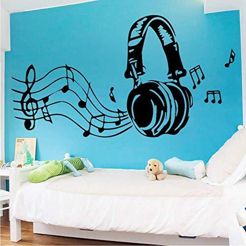 Kunst Musik Kopfhörer Vinyl Wandaufkleber für Kinderzimmer Dekoration Schlafzimmer Dekor Hintergrundbild Wandbild Aufkleber Wallpaper109 * 58Cm