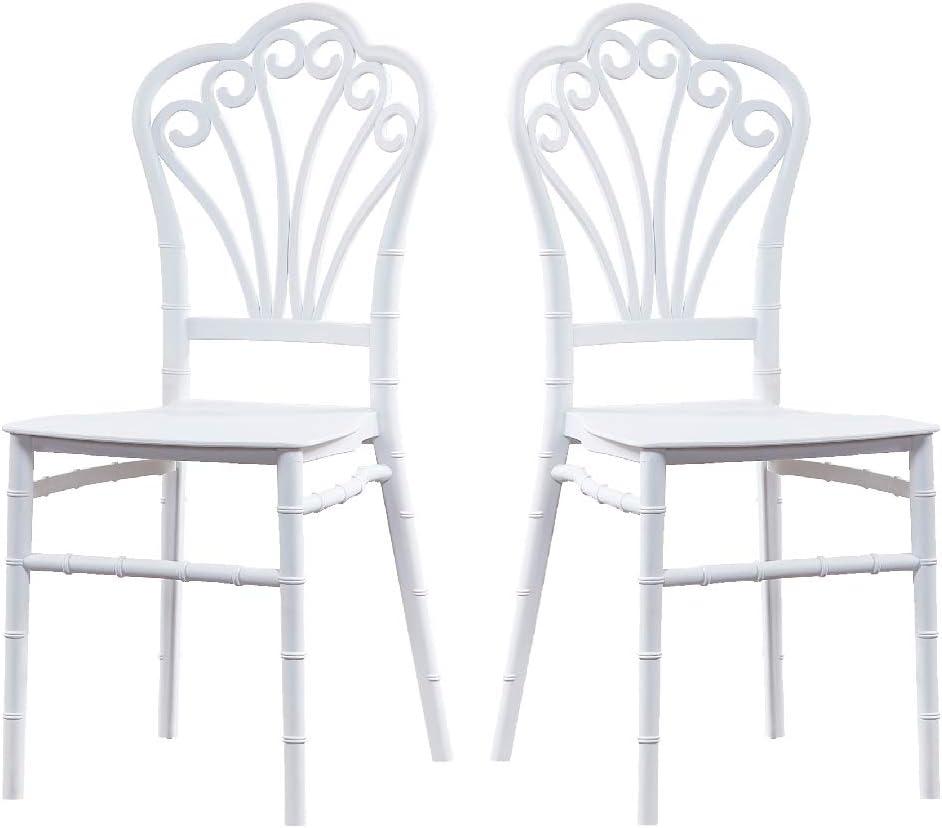 2 Sillas Modelo Garden en Color Blanco. Incluye 2 sillas. Elegantes para Cocina o jardín, apilables y Muy Resistentes.