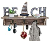 SAILINGSTORY Beach Sign Key Holder for Wall Mounted Coat Rack with Shelf, Key Hook for Wall with Shelf Beach Wall Decor Entryway Shelf with Hooks