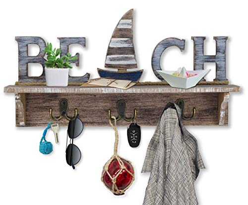 SAILINGSTORY Beach Sign Key Holder for Wall Mounted Coat Rack with Shelf Key Hook for Wall with Shelf Beach Wall Decor Entryway Shelf with Hooks