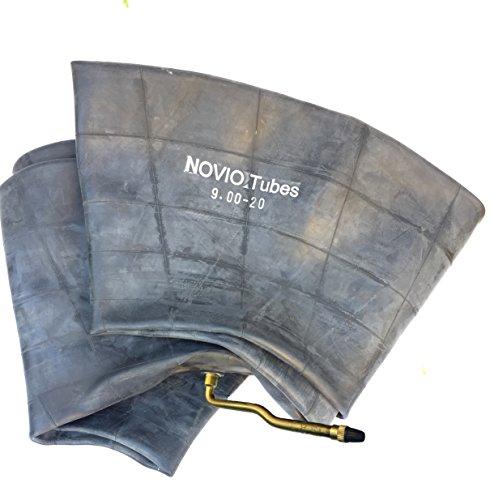 Novio Schlauch 9.00-20 mit Winkelventil V3-06-3 passend für Baumaschinen, LKW-Reifen 9.00 R20, Anhänger, Schlepper, Traktor, Bagger, TOP Luftschlauch in Erstausrüster-Qualität mit Metallventil