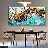 wZUN Deux Abeilles Peinture à l'huile Toile Art Peinture Affiches et Impressions Mur Art Photos pour Salon décoration de la Maison 50x100 cm