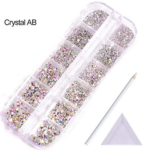 Set 2100 stks/doos kleurrijke kristal non hotfix strass glas steen plaksteen nail art steentjes voor diy decoratie B3910, kristal ab